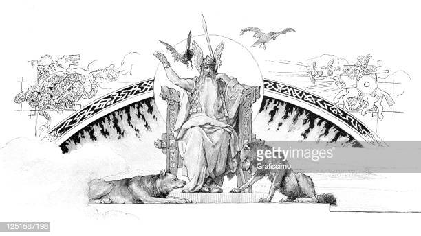 norse mythology wotan or odin sitting on his throne - throne stock illustrations