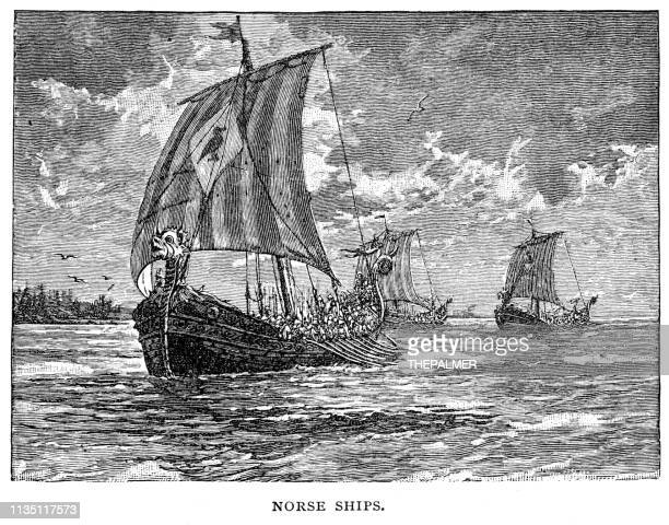 norse schiffe gravieren 1895 - wikinger stock-grafiken, -clipart, -cartoons und -symbole