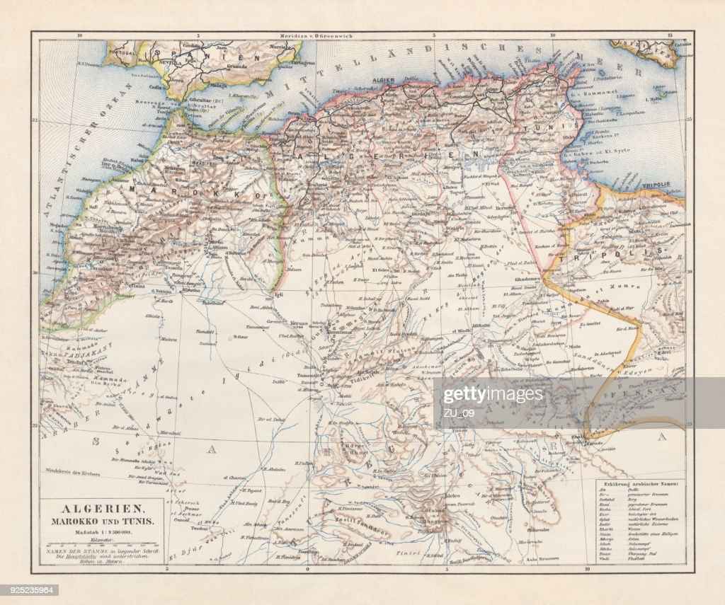 North Africa: Algeria, Morocco and Tunisia, lithograph, published in 1897 : stock illustration