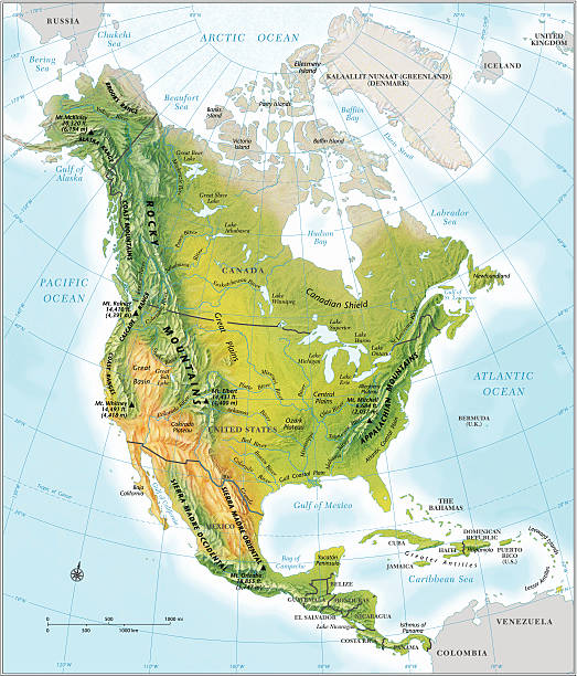 north america continent map relief photos com