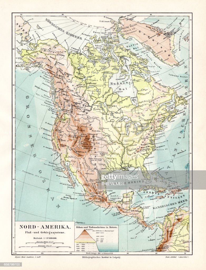 North America Geological Map 1895 Stock Illustration Getty Images