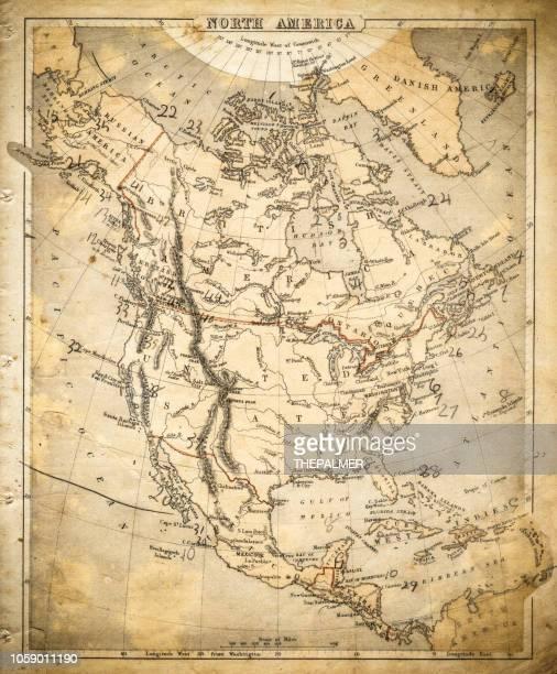 stockillustraties, clipart, cartoons en iconen met noord-amerika kaart van 1869 - north carolina amerikaanse staat