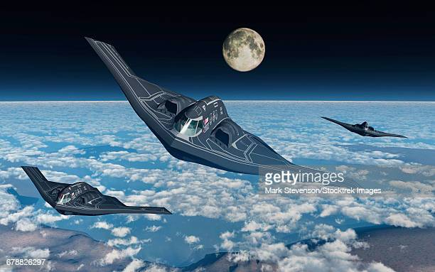 north american b-2 spirit stealth bombers flying at high altitude. - us air force stock illustrations, clip art, cartoons, & icons