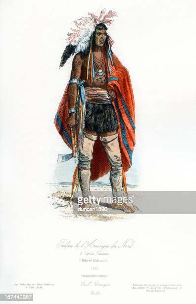 north american indian traditional clothing - indigenous north american culture stock illustrations, clip art, cartoons, & icons