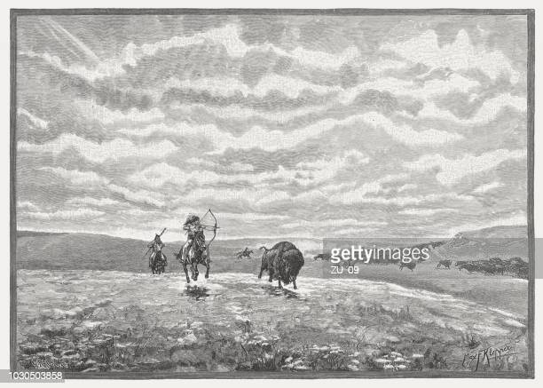 north american indians hunt buffalo, wood engraving, published in 1888 - prairie stock illustrations, clip art, cartoons, & icons