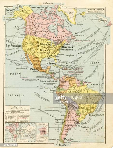 ilustrações, clipart, desenhos animados e ícones de mapa da américa do norte e do sul 1887 - as américas