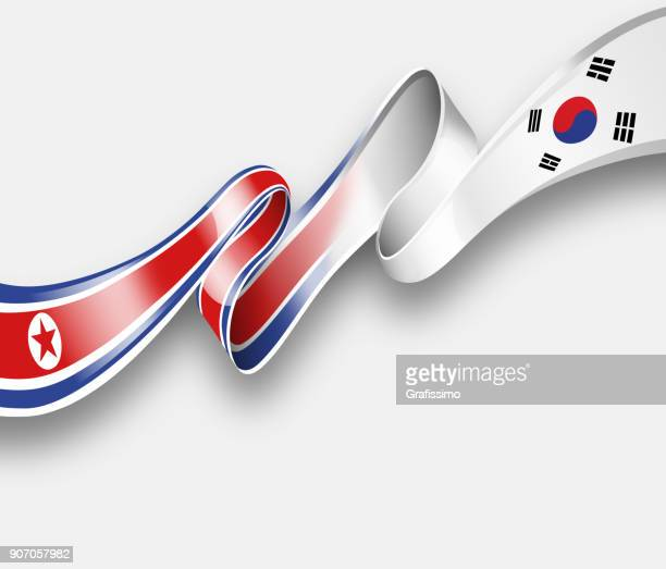 north and south korea flag joining together - korean war stock illustrations, clip art, cartoons, & icons