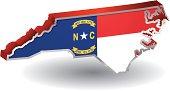 North Carolina Flag Map