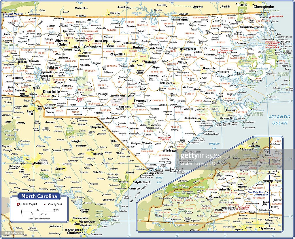 North Carolina State Map Vector Art | Getty Images
