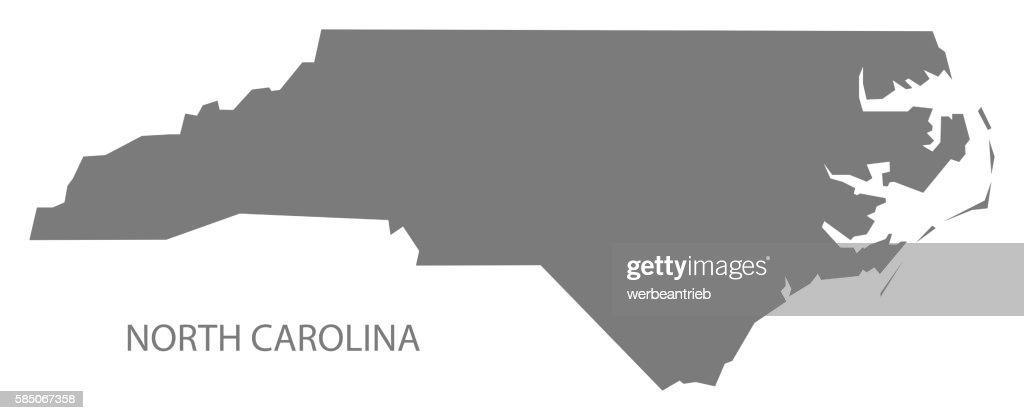 North Carolina Usa Map Grey Stock-Illustration - Getty Images