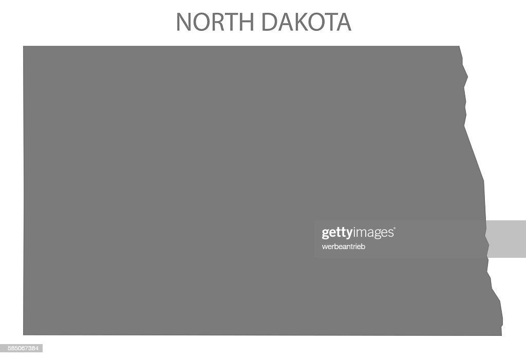 North Dakota Usa Map Grey Stock-Illustration - Getty Images