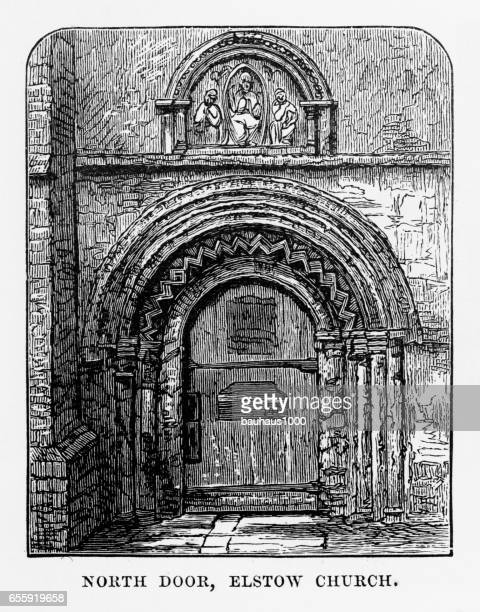 North Door of Elstow Church, Bedford, England Victorian Engraving, 1840