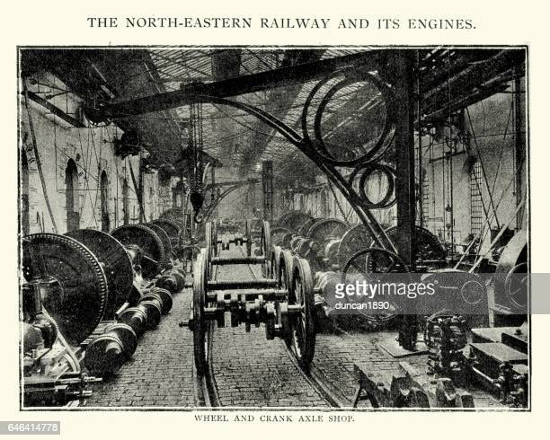 north easten railway factory, 1892 - industrial revolution stock illustrations