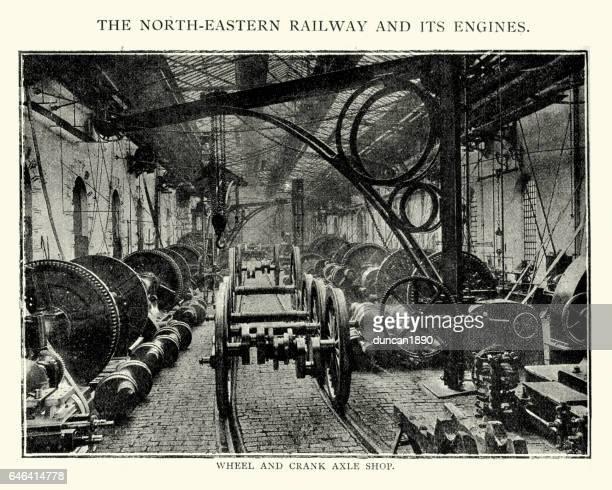 ilustraciones, imágenes clip art, dibujos animados e iconos de stock de north easten fábrica de trenes, 1892 - revolucion industrial