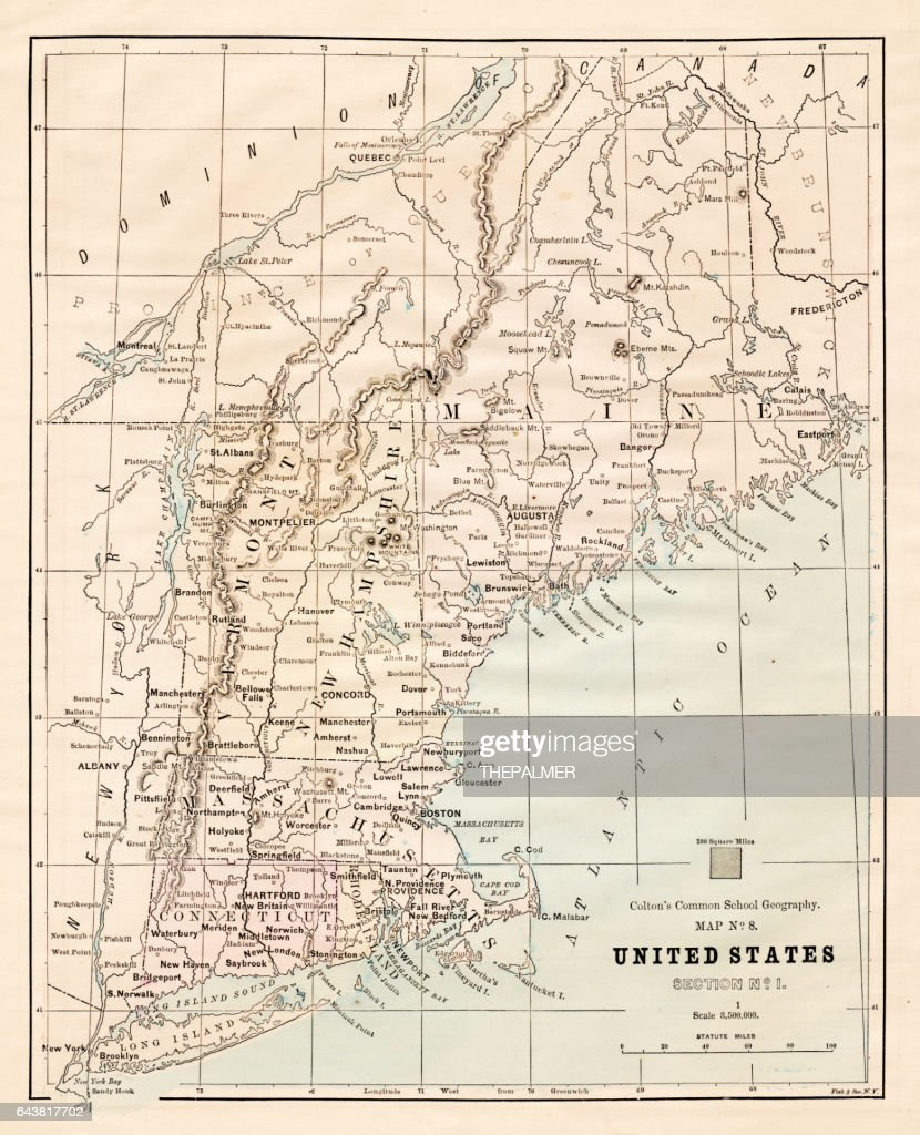 North Eastern States Usa Map 1881 Stock Illustration | Getty Images