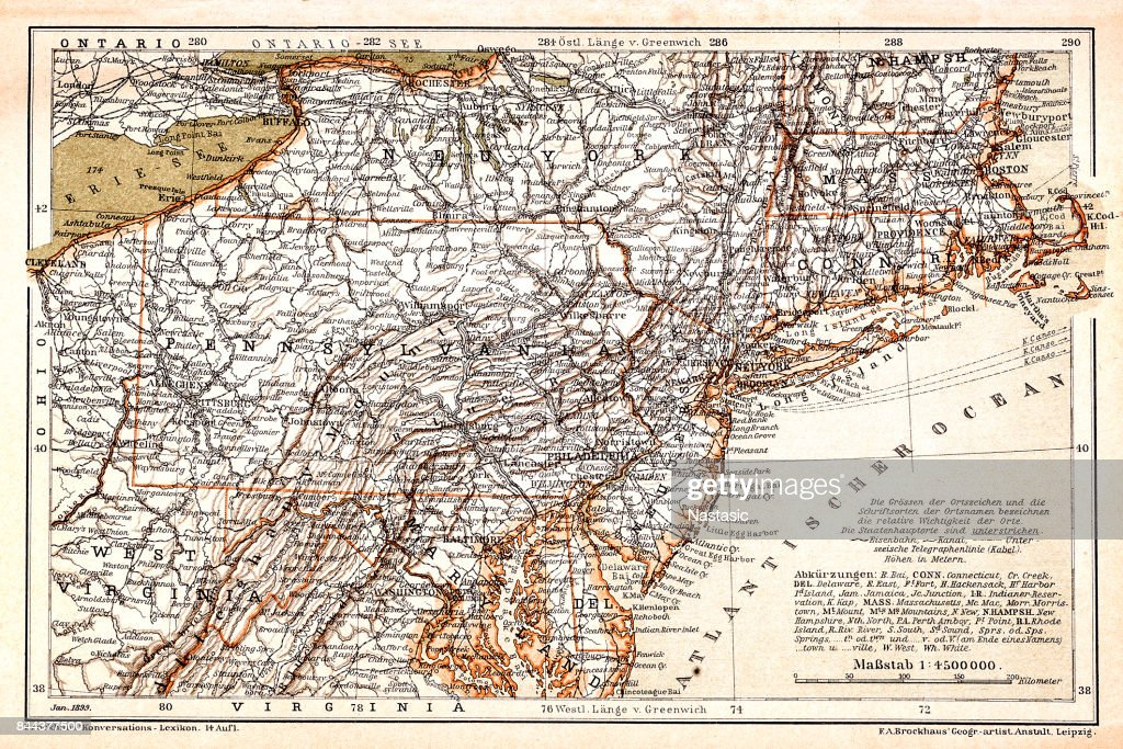 North Eastern States Usa Map Stock Illustration | Getty Images
