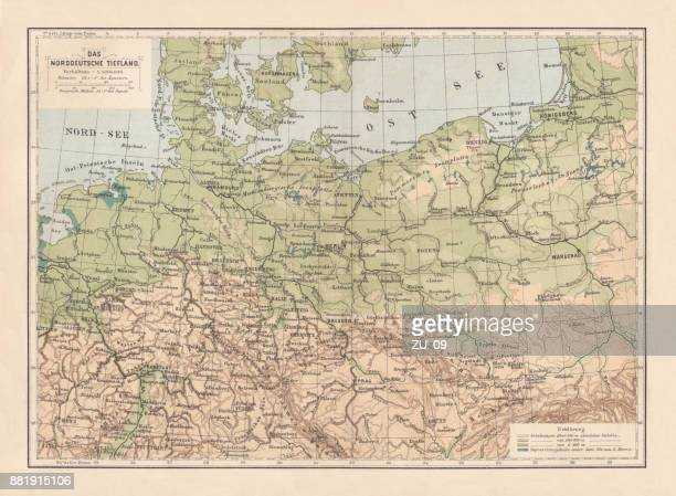 north german lowland map, 19th century view, lithograph, published 1884 - central europe stock illustrations, clip art, cartoons, & icons