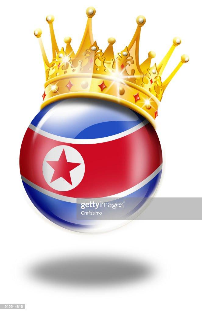 旗優勝冠白で隔離北朝鮮ボタン ストックイラストレーション Getty Images