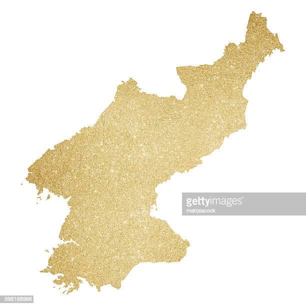 North Korea gold glitter map