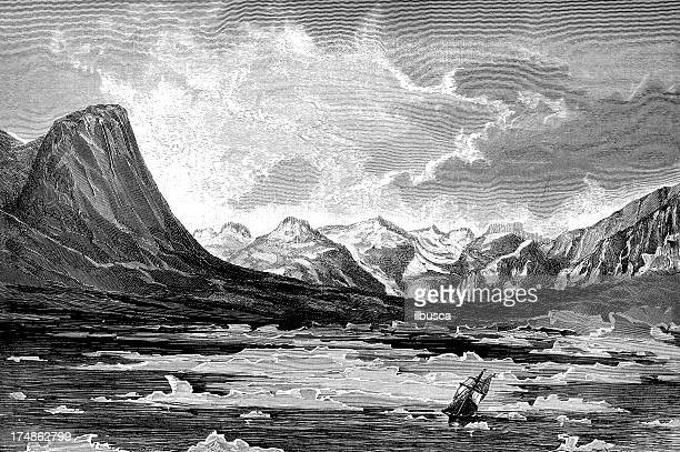 north pole expedition landscape - iceberg ice formation stock illustrations