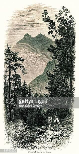 north side of gemmi pass, switzerland i antique european illustrations - mont blanc stock illustrations, clip art, cartoons, & icons