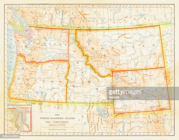 1883 North Western States Map