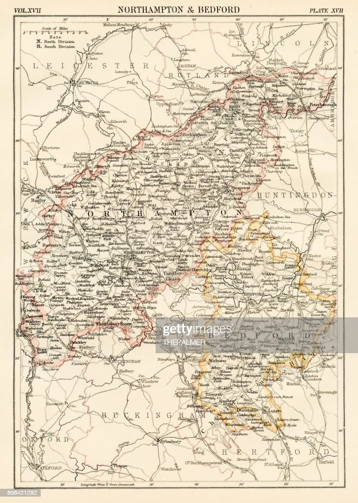 Northampton Map 1884 Stock Illustration Getty Images