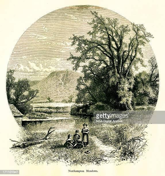 northampton meadows, massachusetts - connecticut river stock illustrations, clip art, cartoons, & icons