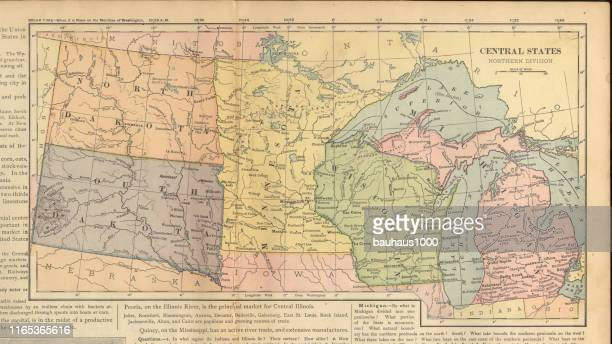 northern central states of the united states of america antique victorian engraved colored map, 1899 - lake erie stock illustrations, clip art, cartoons, & icons