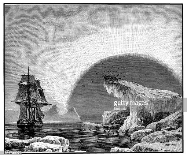 northern light - aurora borealis stock illustrations