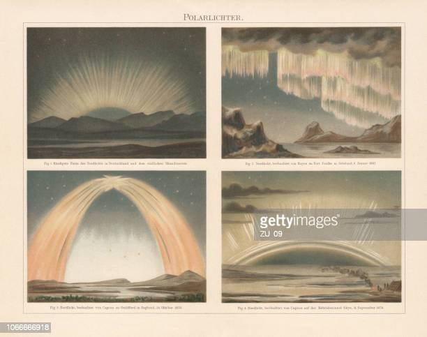 northern lights in europe, chromolithograph, published in 1897 - aurora borealis stock illustrations