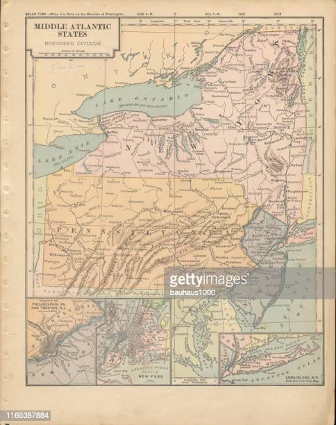 northern middle atlantic states of the united states of america antique victorian engraved colored map, 1899 - lake erie stock illustrations, clip art, cartoons, & icons