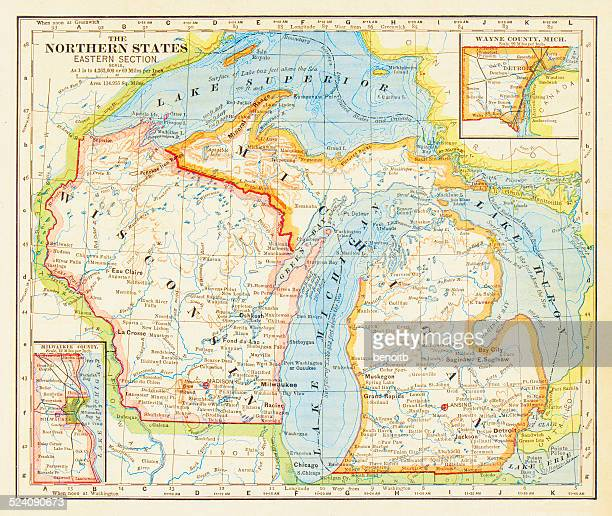 1883 northern states map - great lakes stock illustrations