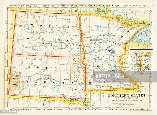 1883 northern states map - south dakota stock illustrations, clip art, cartoons, & icons