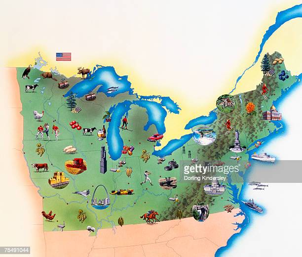 usa, northern states of america, map with illustrations showing distinguishing features - lake ontario stock illustrations, clip art, cartoons, & icons