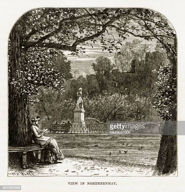 Northernhay Gardens in Exeter, Devon, England Victorian Engraving, 1840