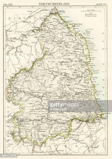 norththumberland map 1884 - northeastern england stock illustrations, clip art, cartoons, & icons