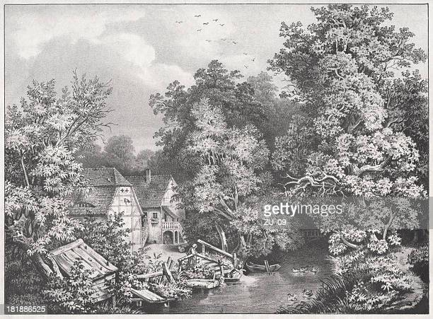 northumberland mill, hideout of alfred the great, lithograph, published 1854 - northumberland stock illustrations, clip art, cartoons, & icons