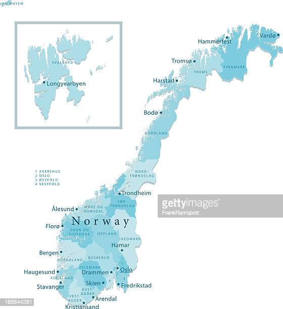 Norway Vector Map Regions Isolated