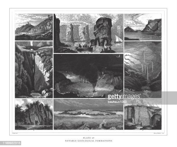 notable geological formations engraving antique illustration, published 1851 - sandstone stock illustrations, clip art, cartoons, & icons