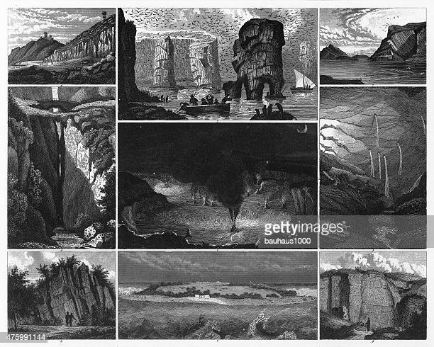 notable geological formations engraving - isle of staffa stock illustrations, clip art, cartoons, & icons
