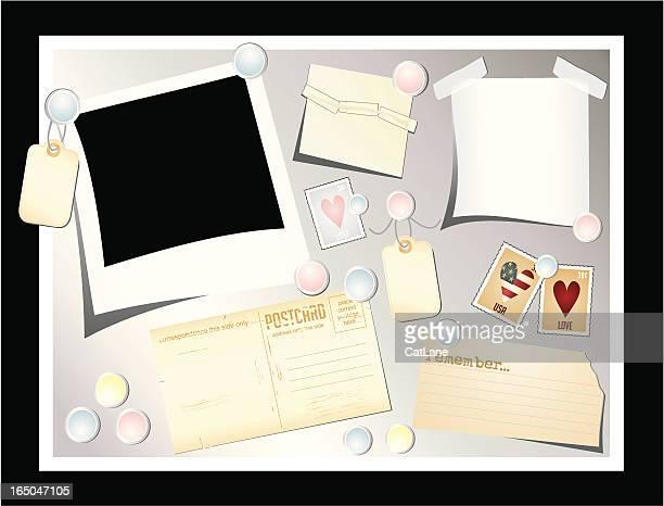 通知ボード、グッズ - インデックスカード点のイラスト素材/クリップアート素材/マンガ素材/アイコン素材
