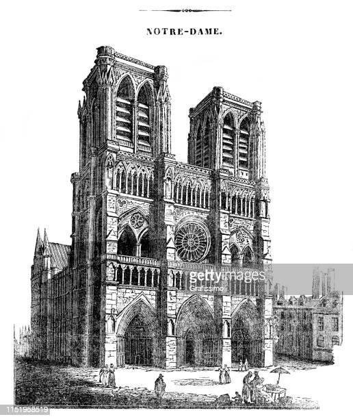 notre-dame cathedral paris france illustration 1839 - notre dame de paris stock illustrations