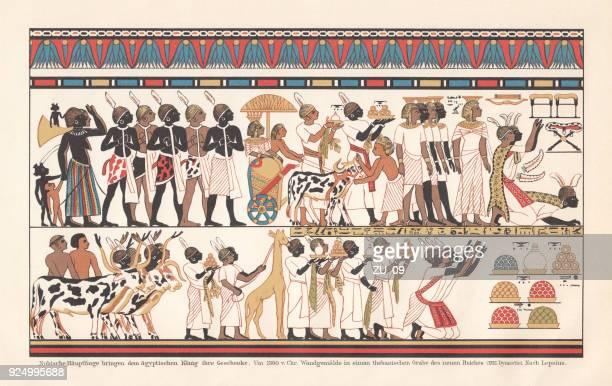 ilustrações, clipart, desenhos animados e ícones de núbios chefes trazem presentes para faraó, theben, c.1380 bc, litografia - cultura egípcia