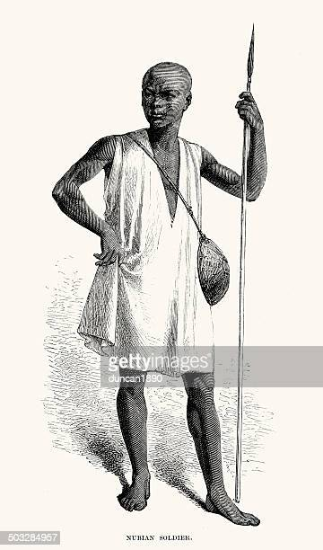 nubian soldier - nubia stock illustrations, clip art, cartoons, & icons