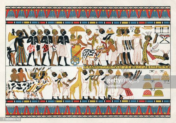 nubian tribal chiefs offering gifts to the egyptian king 1380 b.c - ancient egyptian culture stock illustrations