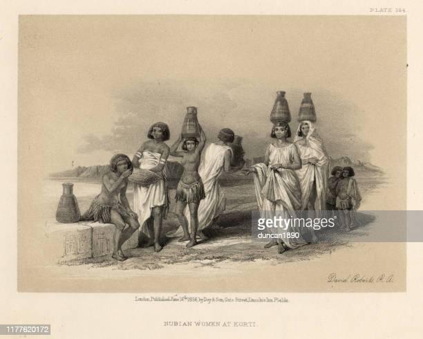 nubian women at korti, 19th century - nubia stock illustrations, clip art, cartoons, & icons