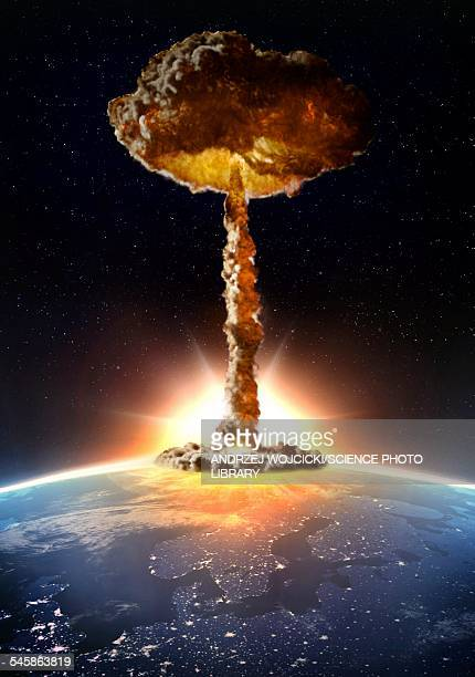nuclear bomb explosion, illustration - radioactive contamination stock illustrations