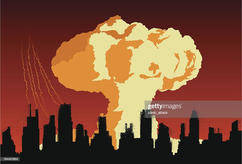 Nuclear explosion cloud over the city concept