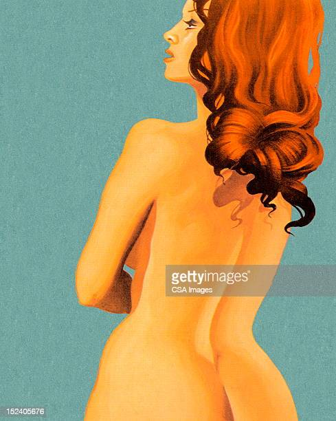 nude woman from behind - seduction stock illustrations, clip art, cartoons, & icons